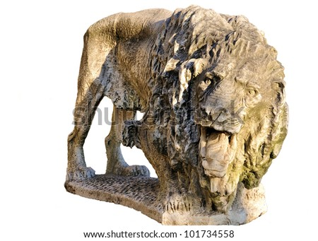 Old stone sculpture of a lion isolated on white. 19th century.