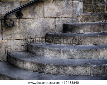 Old stone stairs hdr toned - stock photo