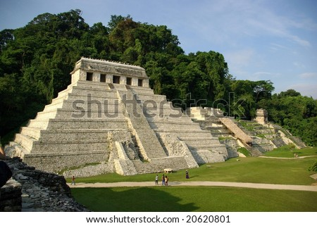 Old stone temple in Palenque, Mexico - stock photo