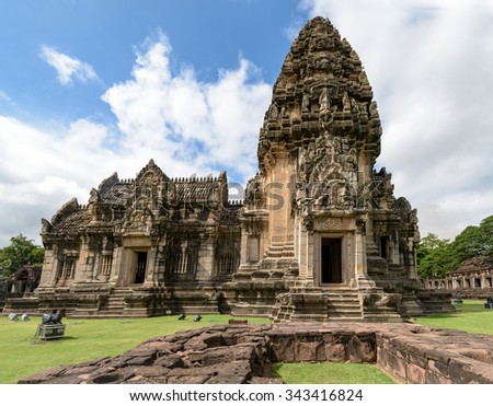 Old stone temples Asia ancient historical park Asian Buddhists temples and culture - stock photo