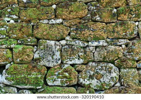 Old stone wall overgrown with moss - stock photo