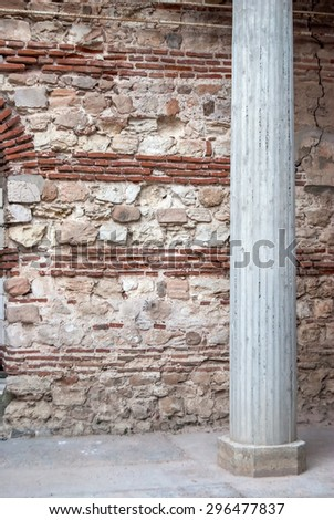 Old stone wall with ancient pattern in old Nessebar town, Bulgaria