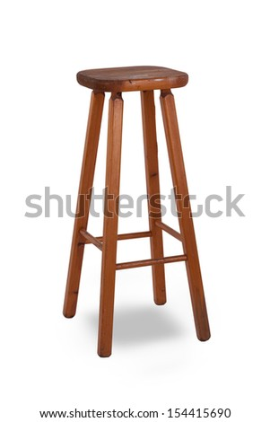 Old stool isolated on white background