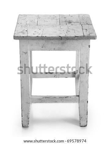 Old stool on a white background - stock photo