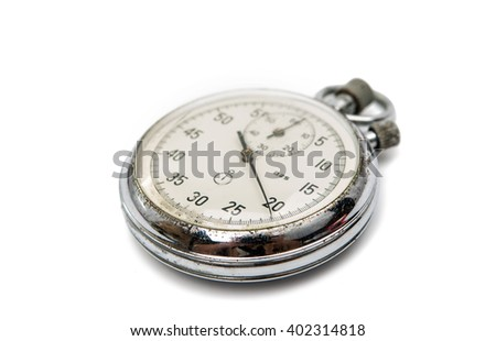 old stopwatch isolated on a white background - stock photo
