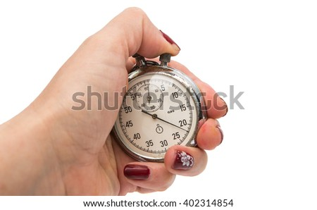 old stopwatch isolated on a white background