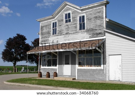 Old storefront. The store used to be the hub of the community - stock photo