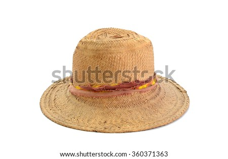old straw hat isolated on white background
