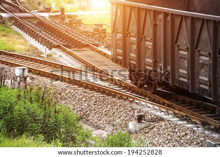 old strea train that runs through the countryside - stock photo