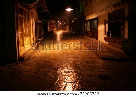 Old street at night - stock photo