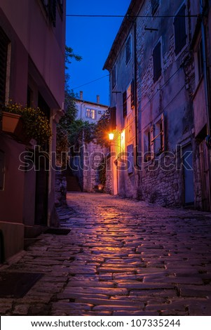 Old street at night -Pula ,Croatia - stock photo