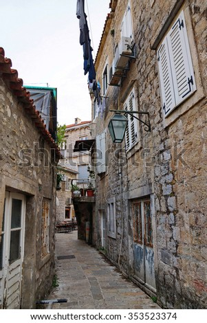 Old Street in Budva is a Montenegrin town on the Adriatic Sea - stock photo