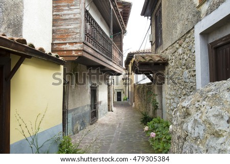 Old street in Cantabria, Spain.