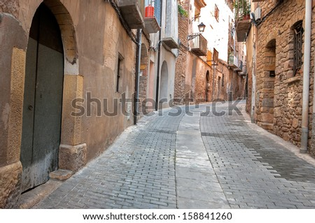 old street in Catalonia.Spain - stock photo