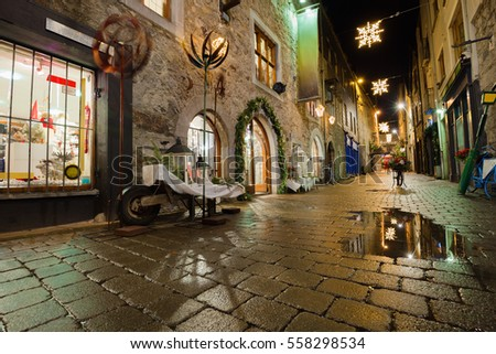 Old street in Galway, Kerwan's Lane, decorated with christmas lights, night scene