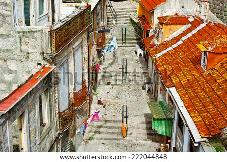 Old Street in Historic Center City of Porto, Portugal - stock photo