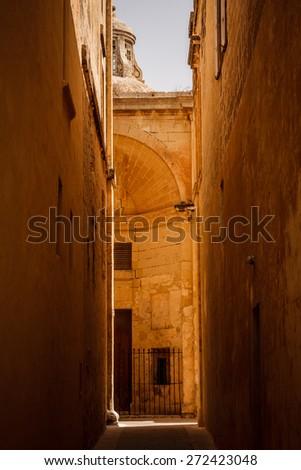 Old street in Mdina, malta - stock photo