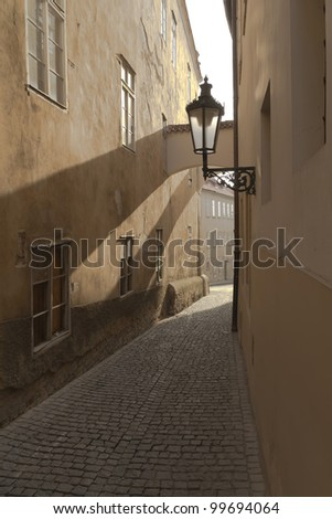 Old street in Prague (Czech Republic) - stock photo