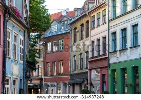 Old street in Riga, Latvia - stock photo