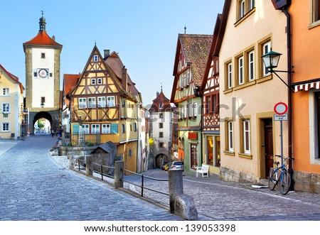 Old street in Rothenburg ob der Tauber, Bavaria, Germany - stock photo