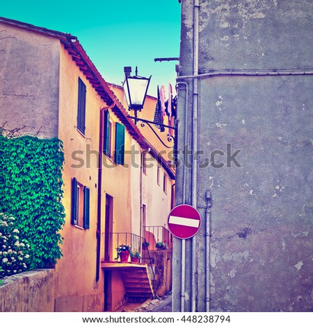 Old Street in the Historic Center of the Medieval Italian City, Retro Effect - stock photo