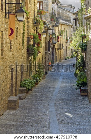 Old street in the medieval village of Ainsa.Aragon.Spain - stock photo