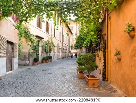 Old street in Trastevere in Rome, Italy - stock photo