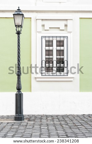 Old street lamp at Buda palace in Budapest, Hungary. - stock photo