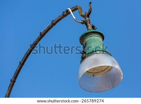 old street lamp in venice street - stock photo