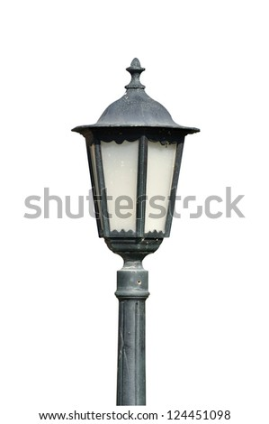 old street lamp isolated white background - stock photo