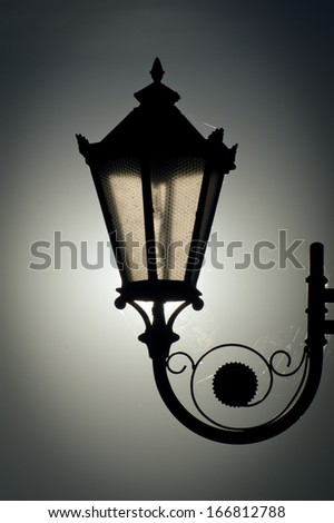 Old street lamp - night - stock photo