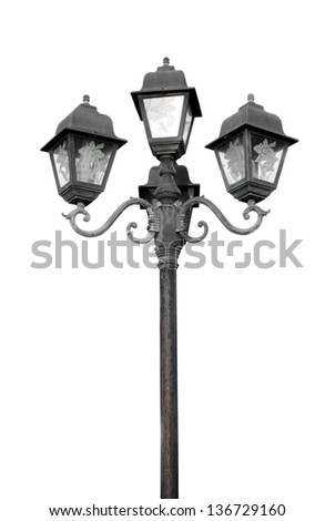 old street lamp on white background - stock photo