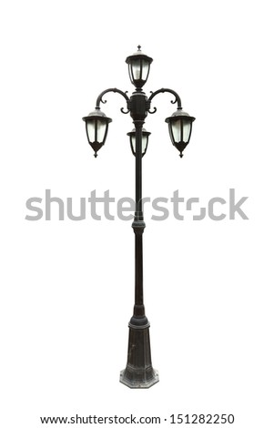 old street lamppost on white background (with clipping path) - stock photo
