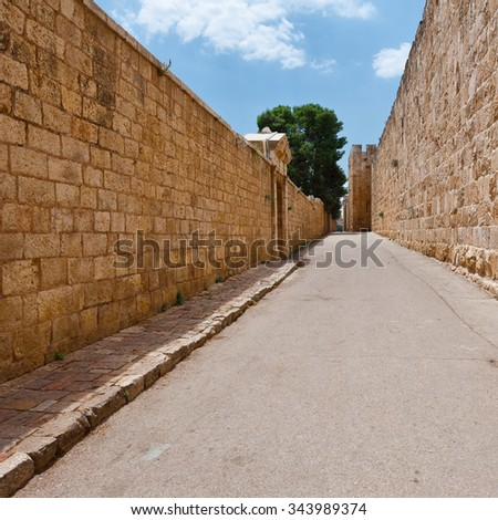 Old Street on the Mount Zion in Jerusalem - stock photo