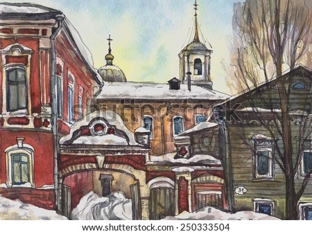 Old street. Winter landscape with Church. The paintings.Watercolor