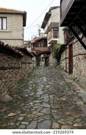 Old streets in the historic town of Nessebar in Bulgaria