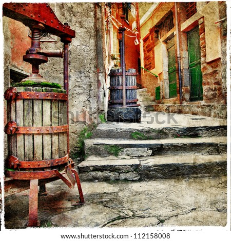 old streets of italian villages - stock photo