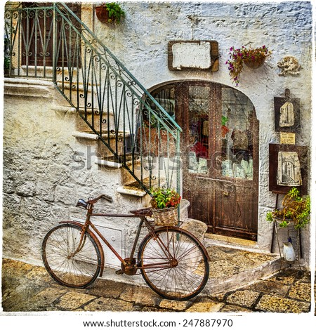 old streets of italy, artistic vintage picture - stock photo