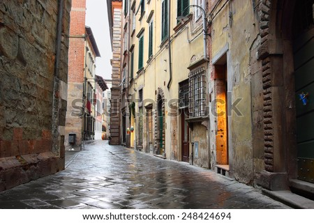 Old streets of Lucca, Italy - stock photo