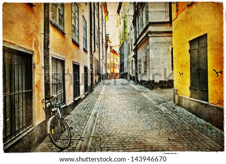 old streets of Stokholm - artistic vintage picture - stock photo
