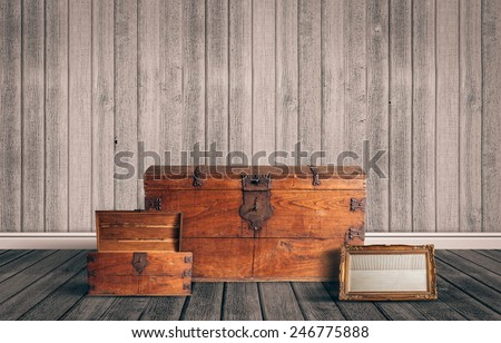 Old stuff on the attic - stock photo