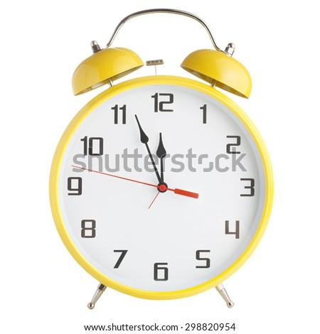 Old style alarm clock isolated on white background - stock photo