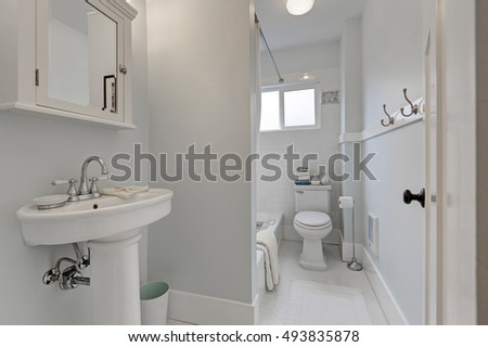 Old style bathroom interior in small American house. Northwest, USA