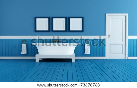 old style  bathtub in a retro bathroom  with blue plank wood floor - rendering - stock photo