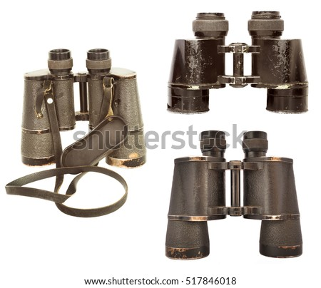 old style binoculars set isolated on white