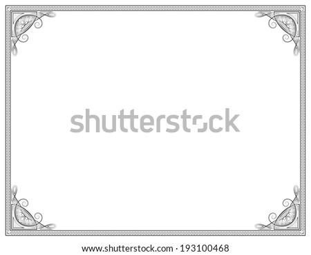 Old style black decorative frame - stock photo
