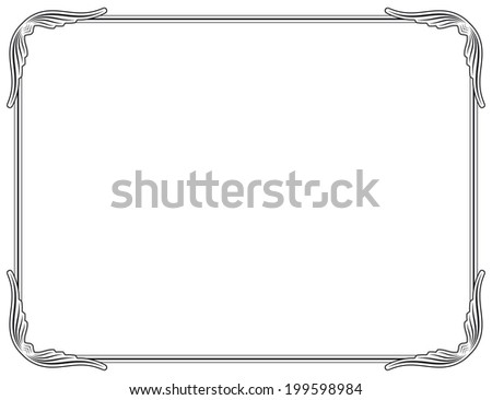 Old style black decorative frame, very easy to adjust the size - stock photo