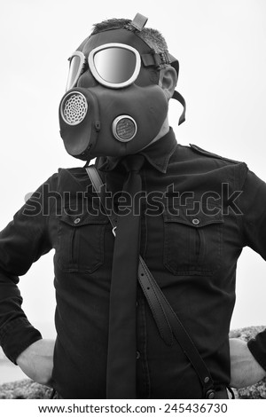 Old style black man with gas mask - stock photo