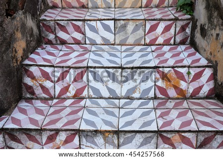 old style ceramic tile staircase