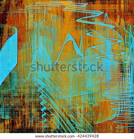 Old style decorative composition or designed vintage template with textured grunge elements and different color patterns: yellow (beige); brown; blue; red (orange) - stock photo
